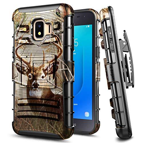 E-Began Case for Samsung Galaxy J2 Core /Galaxy J2 2019 /J2 Dash /J2 Pure /J260 /J2 Shine, Belt Clip Holster Kickstand Protective Hybrid Cover Heavy Duty Armor Defender Shockproof Rugged Case -Deer