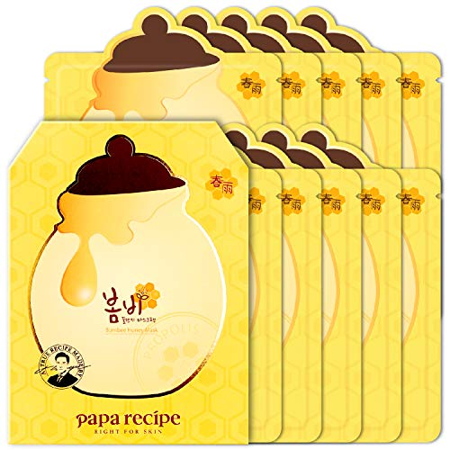 Papa Recipe Bombee Korean Skin Care Products and Tools, Facial Skincare Sheet Mask, Deep Moisturizing Serums for Dry Skin, Honey Masks, 10 Sheets