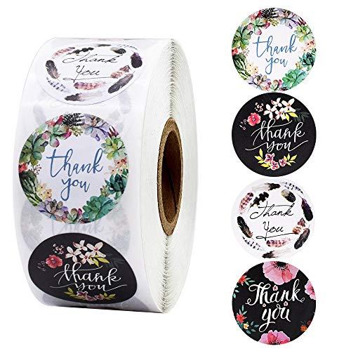 500 PCS Etichette Autoadesivo di ringraziamento Floreale Thank You realizzato a mano Round Baking Sticker kraft etichette adesive per regali fatti in casa 1 pollice