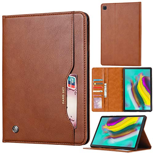 Eabhulie Samsung Galaxy Tab S5e 10.5 Case, Premium Magnetic Closure Flip Wallet Leather Protective Case Cover with Stand Function for Galaxy Tab S5e 10.5 inch 2019 SM-T720/T725/T727 Brown