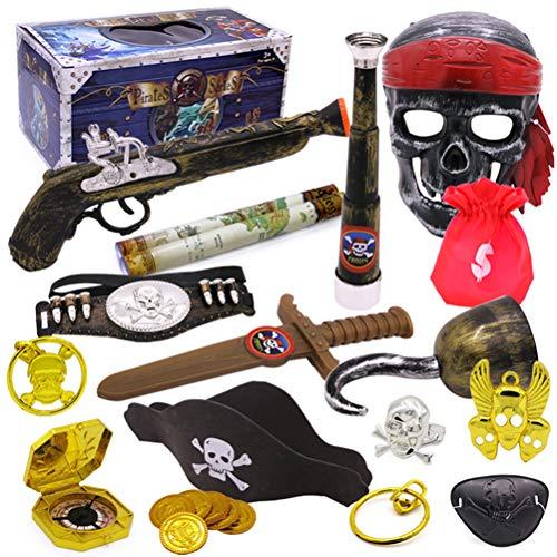 HEITIGN 21Pcs / Set de Cosplay de Pirata de Halloween, Espadas Brújulas Dagas Máscaras Ropa Sombreros Binoculares Medallas Monedas de Oro Vestir Accesorios, Caja Del Tesoro Pirata para Niños Juguete