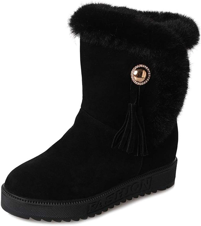 KAOKAOO Women's Slip On Warm Winter Flat shoes Middle Tube Snow Boots