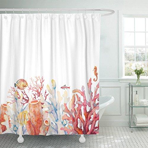 Emvency Duschvorhang-Set mit Haken, nautisches Design, Aquarell-Korallen-Bordüre mit Unterwasser-Zweigen, Seepferdchen & Fischen auf Weiß, 183 x 183 cm, wasserdicht, dekoratives Badezimmer