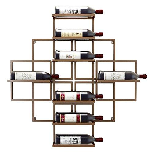 Etagère à bouteille Porte-bouteilles mural Porte-bouteille de vin en métal Porte-bouteilles de rangement en fer-métal Tablettes Vintage- Peut contenir 8 bouteilles de vin-Cuivre rouge, 80x10x 80cm