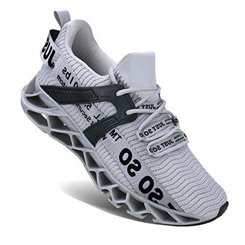 Wonesion Herren Fitness Laufschuhe Atmungsaktiv rutschfeste Mode Sneaker Sportschuhe,6 Grau,43 EU