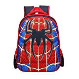 Mochila infantil de superhéroe con correas ajustables para el hombro, spiderman (Rojo) - Victory 002