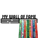 United Medals My Wall of Fame - Espositore per medaglie sportive, in acciaio verniciato a polvere nera (3 barre da appendere fino a 48 medaglie)