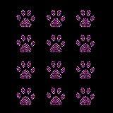 Set of 12 Purple Mini Paw Print Iron On Rhinestud...