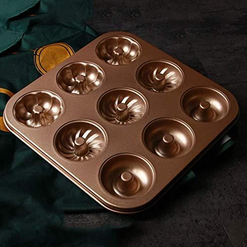 N\C DMKD Kitchen Home Corrugado con Tapa Herramientas para Hornear, Pastel de Galletas Tostado Creativo No es fácil de Quitar del Molde, Acero al Carbono Dorado (26.5 X 26.5 X 2.5cm) xin DMKD