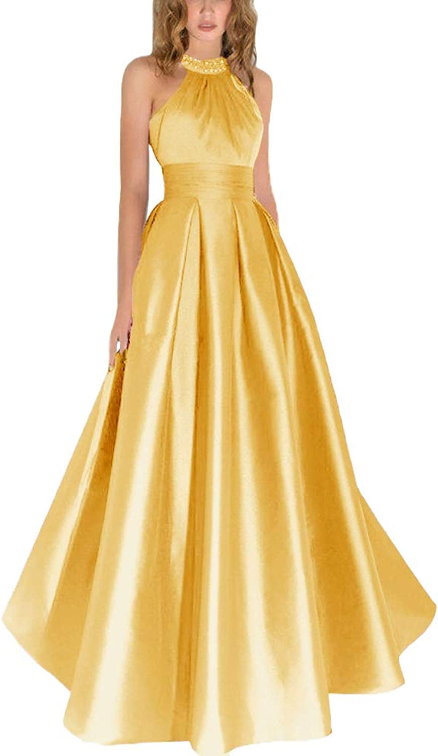 JINGDRESS Halter Satin Prom Maxi Gowns Sexy Open Back Beaded Cocktail Evening Gowns for Girls
