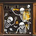 70 PCS Halloween Window Clings Halloween Window Stickers Skeleton Ghosts Bats Halloween Decorations for Windows Glass Walls Halloween Haunted House Party Supplies