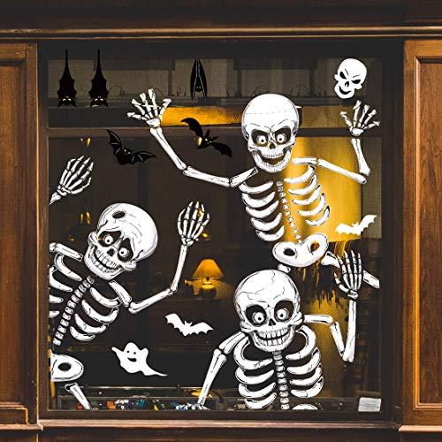 70 PCS Halloween Window Clings Halloween Window Stickers Skeleton Ghosts Bats Halloween...