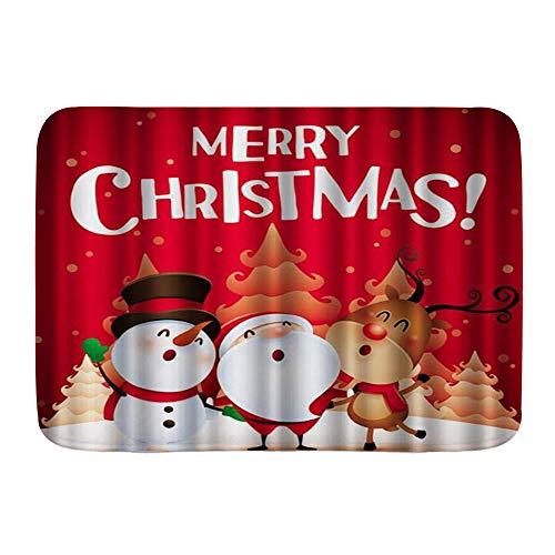 LASINSU Alfombra de Baño Antideslizante Alfombrilla de Baño,Divertido Navidad Navidad Santa Muñeco de Nieve...