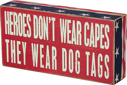 Primitives by Kathy 21477 Patriotic Box Sign, 4 x 8, Heroes Wear Dog Tags