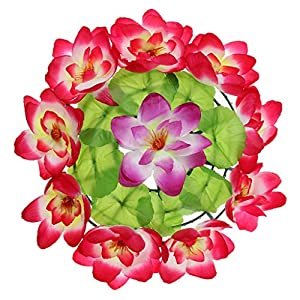 Artificial and Dried Flower Silk Lotus Memorial Flower Wreath Grave Tombstone Flower Wreath Decoration – ( Color: E)