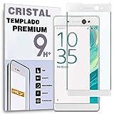 REY Protector de Pantalla Curvo para Sony Xperia XA Ultra, Blanco, Cristal Vidrio Templado Premium, 3D / 4D / 5D