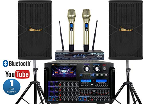 Best Prices! IDOLmain Premium 8000W Karaoke System With Speakers And Dual Wireless Microphones Bundl...