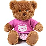 10 Inch Teddy Bear Stuffed Animal with Clothes, Cute Baby Girl Bear Plush, with T-Shirt and Dress, Baby Shower Decoration, Brown