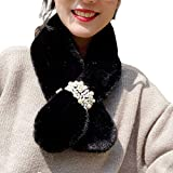 KingbeefLIU Bufanda Mujer Color Sólido Cálido Perla De Imitación Imitación Piel De Conejo Cuello Bufanda Abrigo Más Caliente Negro