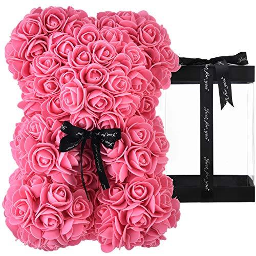 Rosen Teddybär, Rosenbär, Geschenke für Mütter, Frauen, Teenager, Geschenke, Muttergeschenke, handgefertigter Rosen bär, Teddybär, Rose, Bär, Valentinstag, Geburtstag, Hochzeit, mit Box (rosa)