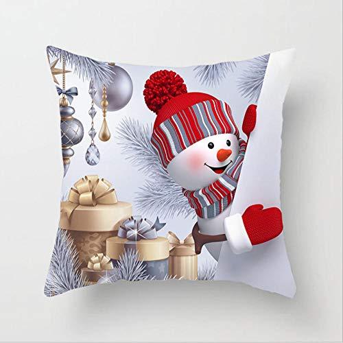 AdoDecor Cojines de algodón Funda de Almohada navideña Funda de Almohada con Estampado de Papá Noel de Navidad decoración del hogar 50 × 50 cm con núcleo de Almohada