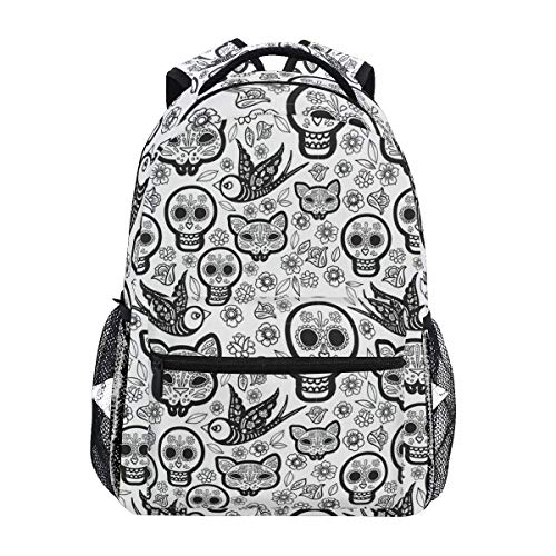 Daypack Day of The Dead Sugar Skull Bookbag Stylish College Shoulder Bag Casual Backpack School Durable Student Gift Printed Lightweight Travel Unique