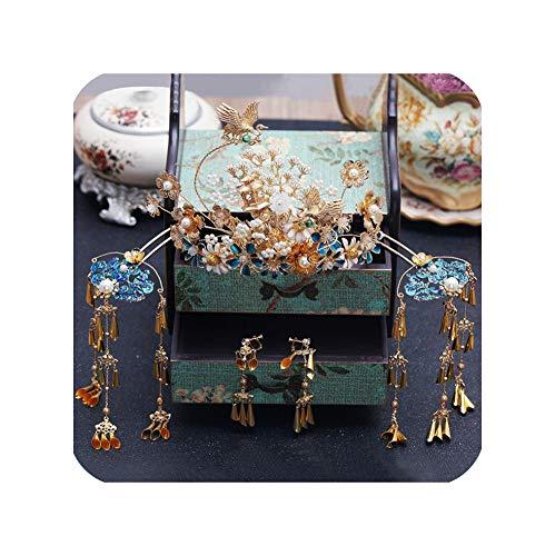 Tocado tradicional chino para novia, diseño de corona de fénix antiguo, color azul, Color dorado,…