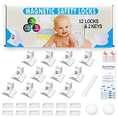 Eco-Baby Child Safety Magnetic Cabinet and Drawer Locks for Proofing Kitchen 12 Pack Child Latches from Eco-Baby