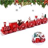 WELLXUNK Trenino di Natale, Pezzi Trenino Natale Legno, Trenino Albero di Natale Agganciabile,Il Regalo Perfetto Come Giocattolo a Tema Natalizio, con Mini Figure di Babbo Natale E Regali a Bordo