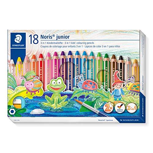 Staedtler 140 C18 3in1 Buntstift Noris junior (Bunt-,Wachsmal- und Aquarellstift, extra bruchsicher, ideal für Kinder, für viele Oberflächen, Kartonetui mit 18 Farben inkl. Spitzer)
