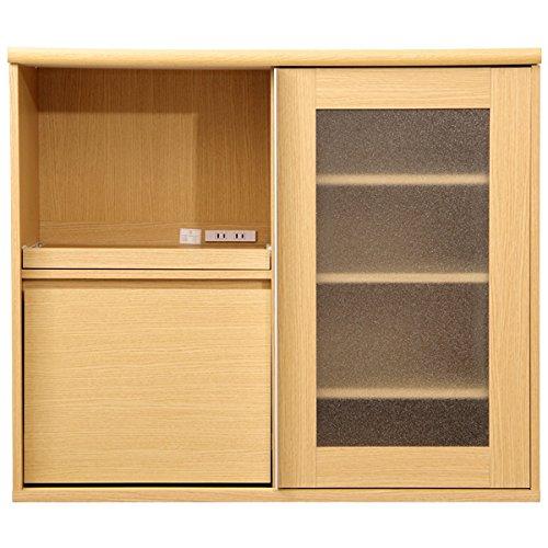 シンプルでおしゃれなガラス引き戸食器棚 ナチュラル 105cm×45cm×90cm 幅広ワイドタイプ・ハイタイプ(レンジ台・家電収納棚)