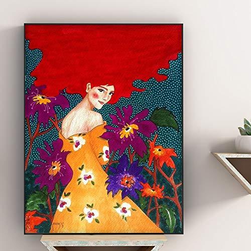 Geiqianjiumai Carteles e Impresiones nórdicos Flores Moderno Retrato de niña Lienzo de Arte de Pared para Sala de Estar decoración del hogar escandinavo Pintura Pintura sin Marco 30x40 cm