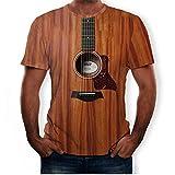 YSYOkow Camiseta gráfica creativa de guitarra impresa 3D para hombre Fashon Funny manga corta Tops Instrumento musical Tee