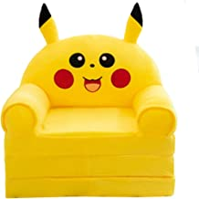 AXHSYZM Removable and Washable Children's Folding Small Sofa Pikachu Cute Lazy Lying Seat Kindergarten Stool
