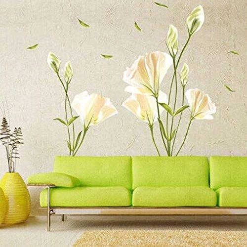 SMART LEGEND Wandsticker Wandtattoo Größe: 60cm*90cm Home Dekoration Aufkleber Wohnzimmer Zuhause Dekoration Lilie Blumen frisch