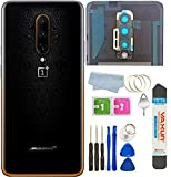 Battery Back Cover Rear Panel Glass +Camera Lens Replacement for Oneplus 7T Pro Mclaren 6.67' with Micro USB to Type-C Cable+Tools (7T Pro Mclaren Black)