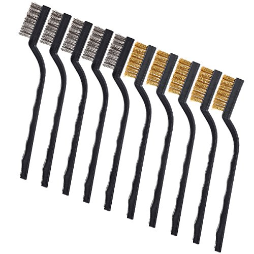 10 Pieces Wire Brush Scratch Brush (Stainless Steel + Brass), Curved Handle Masonry Brush Wire Bristle for Cleaning Welding Slag and Rust