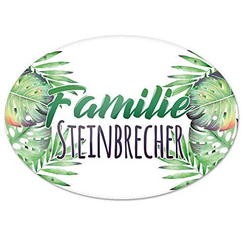 Eurofoto Türschild mit Namen Familie Steinbrecher und Tropischem Pflanzen-Motiv | für den Innenbereich | Klingelschild mit Nachnamen