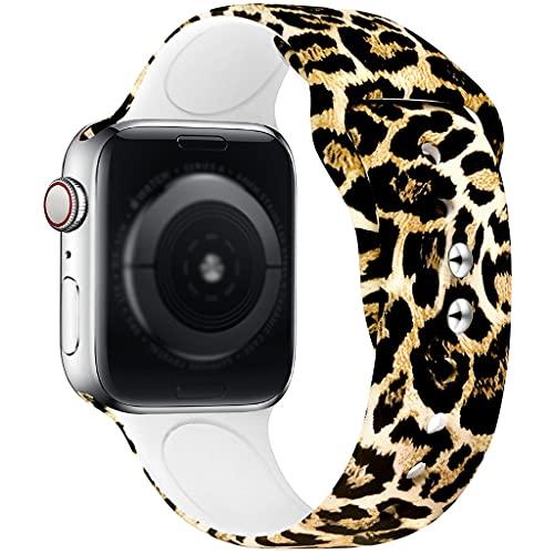 Bande imprimée à motif de silicone, pour la bande de montre Apple 38mm 42mm 40mm 44mm 44mm, bracelet de remplacement Soft Sport pour iWatch Series 6/5/4/3/2/1 (bandes de sangle dimpression léopard)