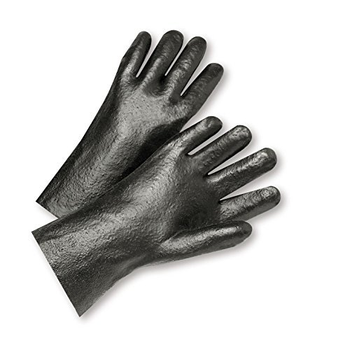 West Chester 1017R Standard Semi-Rough Grip PVC Gloves – Black, Large, 10 in, Interlock Lined Work Gloves