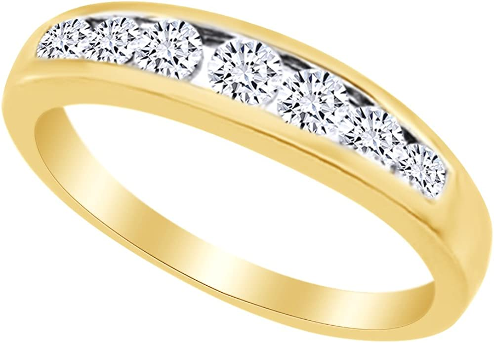 AFFY White Natural Diamond Seven Stone Anniversary Ring in 14k Solid Gold (0.38 Ct)