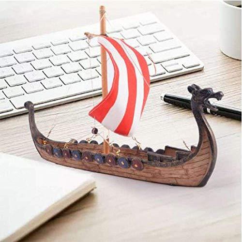 XIUYU Wohnzimmerdekorationen Chem Sailboat Modell Wooden Boat Ornament Piratenschiff Drachenboot Klassisches Segelschiffsmodell DIY Spielzeug Dekoration Geschenk Segeln