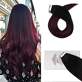 "Moresoo 24"" Tape Human Hair Extensions Seamless Tape in Real Human Hair Extensions Balayage Color #1B Off Black Fading to #99J Red Wine Glue in Hair Extensions 100g/40pieces Per Pack"
