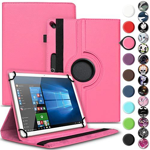 Nauci Tablet Schutz Hülle kompatibel für Archos 101 Oxygen Schutzhülle Kunst-Leder 10.1 Zoll 360° Drehbar Cover Universal Case, Farbe:Pink