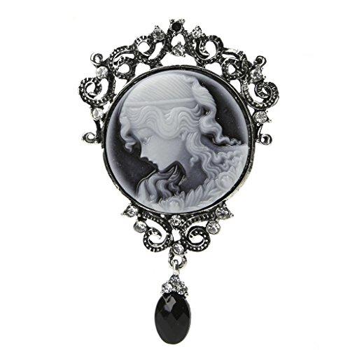 CUIGU Elegante Damen-Brosche im Antik-Vintage-Stil, viktorianische Camée-Brosche