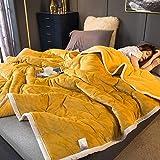 Decke hochwertige Wohndecken Kuscheldecken, extra warm Sofadecke/Couchdecke in zweiseitig, super flausch Fleecedecke als Sofaüberwurf oder Wohnzimmerdecke -Hahnentritt Gelbfalier_200 * 230 cm