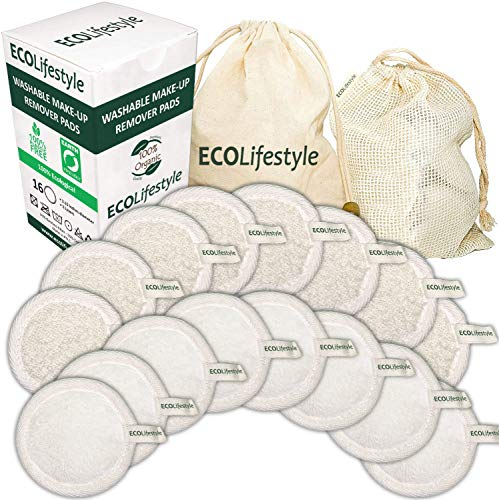 Reusable Makeup Remover Pads - 16 Bamboo Reusable Cotton Rounds for Toner Reusable Cotton Pads for Face - Eco Friendly Products Zero Waste Sustainable Cloths Organic Pad - Eye Cleaner Removal all Skin