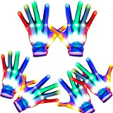 3 Pairs LED Gloves Flashing Light Up Skeleton Gloves for Kids Adults Colorful Glow in the Dark Party Favors Birthday Halloween Christmas Costume Clubbing Classroom Neon Rave Party Supplies (6 Modes)