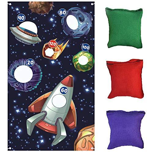 Jeu de lancer suspendu astronaute , Jeux de lancer du système solaire spatial Ensemble de 3 sacs de haricots , Fournitures de fête d'anniversaire dans l'espace 。
