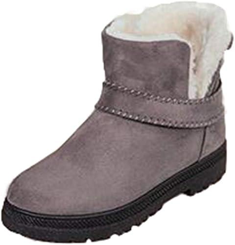 Juleya Stiefel de Nieve para damenes Stiefel de Invierno con Forro de Piel Stiefel de Gamuza Impermeables con Cordones Stiefel de Tobillo al Aire Libre con Cordones